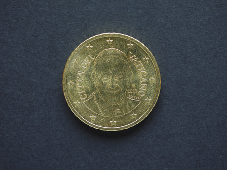 Euro (EUR) coin, currency of European Union (EU) - 50 cents from Vatican City, bearing the portrait of Pope Francis I