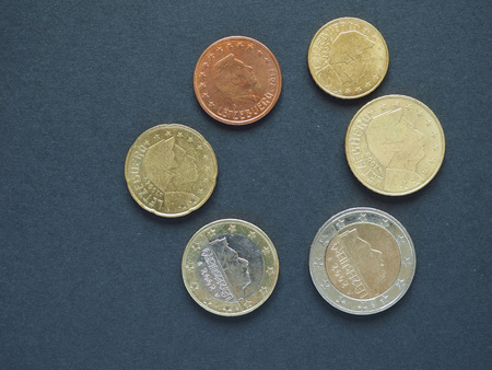 Euro (EUR) coins, currency of European Union (EU) from Luxemburg bearing the portrait of Henri, Grand Duke of Luxembourg