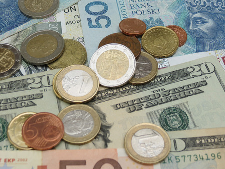 czech republic coin: Mixed currency notes - USD, EUR, SEK, PLN, CZK
