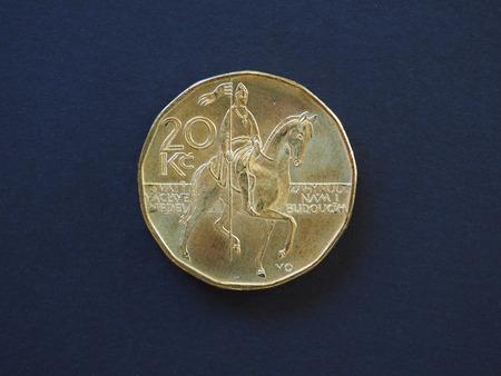 koruna: 20 koruna coin money (CZK), currency of Czech Republic Stock Photo