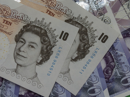 LONDON, UK - CIRCA SEPTEMBER 2016: 10 & 20 Pound banknotes money (GBP), currency of United Kingdom
