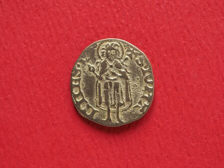 florin: Gold Florin (Fiorino doro) coin issued circa 1256 in Florence, Italy - reading S. Stock Photo
