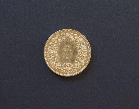 5 Cent Münze Geld Chf Währung Der Schweiz Auf Schwarzem