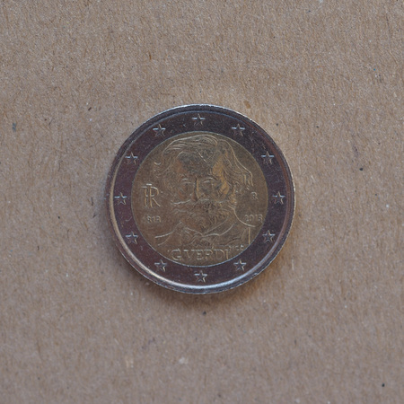 2 euro commemorative coin money (EUR), bearing the portrait of opera musician Giuseppe Verdi (1813-1901) released in 2013 Editorial