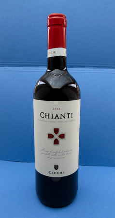 chiantishire: FLORENCE, ITALY - CIRCA MAY 2016: a bottle of Chianti red wine produced by Cecchi