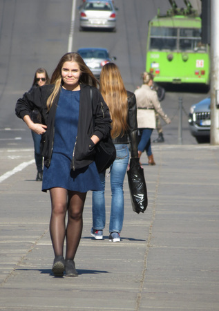KAUNAS, LITHUANIA - CIRCA APRIL 2017: unidentified girls in in the city centre Editorial