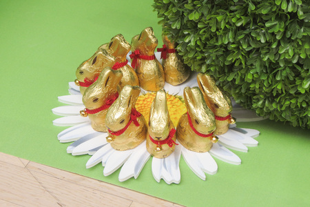 LEIPZIG, GERMANY - CIRCA MARCH 2016: Lindt chocolate Easter bunnies on display in a chocolate store