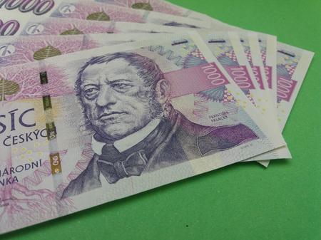 korun: 1000 Czech Koruna banknotes money (CZK), currency of Czech Republic - series of five mint notes