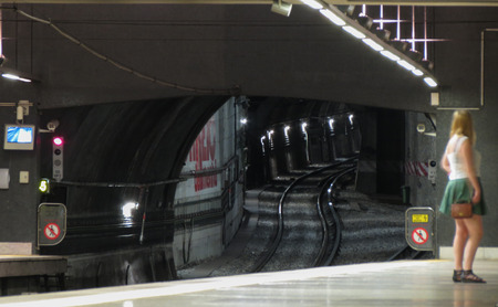 LISBON, PORTUGAL - CIRCA JUNE 2015: a tube tunnel of an underground subway metro transport line Editorial