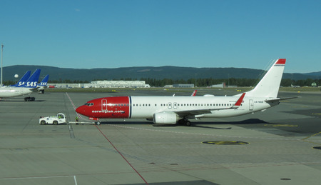 OSLO, NORWAY - CIRCA AUGUST 2017: Norwegian Boeing 737-800 during taxi at Gardermoen aiport Editorial
