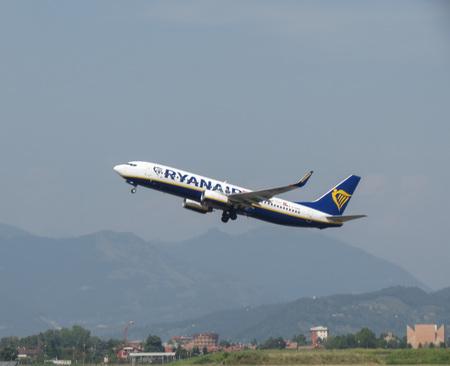 ORIO AL SERIO, ITALY - CIRCA AUGUST 2017: RyanAir Boeing 737-800 taking off Editorial