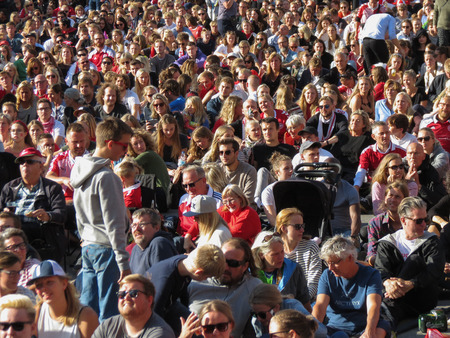 COPENHAGEN, DENMARK - CIRCA AUGUST 2017: massive crowd gathers to watch Womens Euro 2017 Final between the Netherlands and Denmark projected on screen on the main square