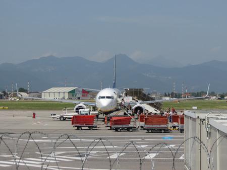 ORIO AL SERIO, ITALY - CIRCA AUGUST 2017: RyanAir Boeing 737-800 during boarding