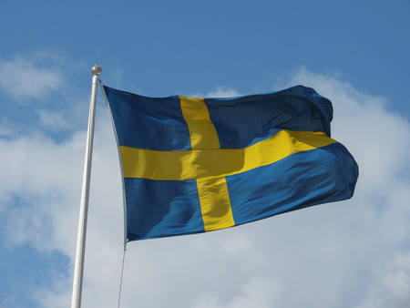 the Swedish national flag of Sweden, Europe