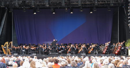 COPENHAGEN, DENMARK - CIRCA AUGUST 2017: unidentified symphonic orchestra playing live outdoors