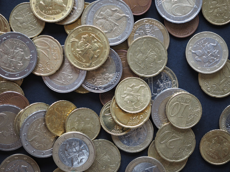 minted: Euro coins of different denomination (EUR) released by Lithuania Stock Photo