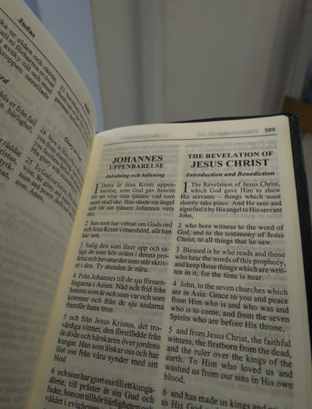 Book of Revelation (aka Apocalypse or Revelation of John) in Swedish and English 版權商用圖片