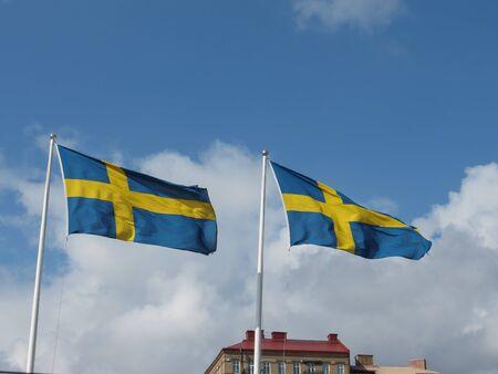 the Swedish national flag of Sweden, Europe