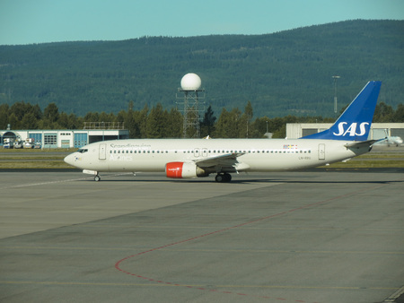 OSLO, NORWAY - CIRCA AUGUST 2017: SAS Scandinavian Airlines Boeing 737-883 during taxi at Gardermoen airport