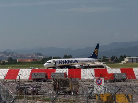 ORIO AL SERIO, ITALY - CIRCA AUGUST 2017: RyanAir Boeing 737-800 ready for boarding