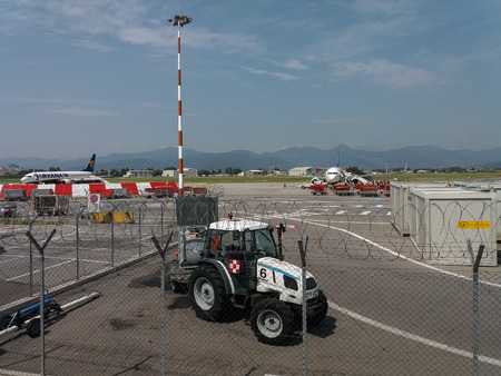 ORIO AL SERIO, ITALY - CIRCA AUGUST 2017: RyanAir Boeings 737-800 ready for boarding