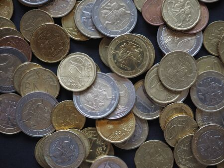 Euro coins of different denomination (EUR) released by Lithuania Stock Photo