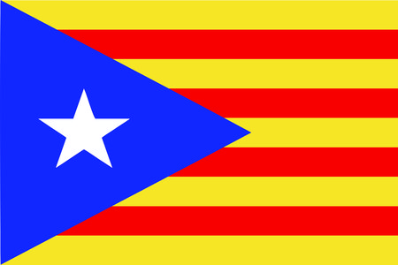 the Catalan national flag of Catalonia known as estrella (meaning star in Catalan) - isolated vector illustration