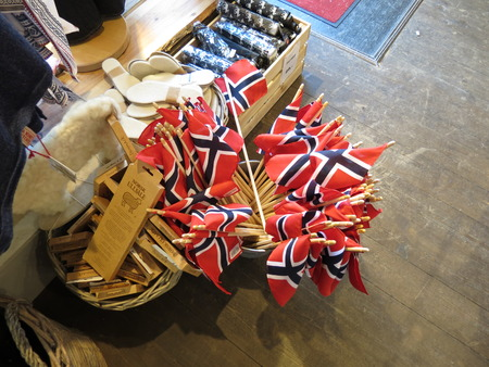 OSLO, NORWAY - CIRCA AUGUST 2017: the Norwegian national flag of Norway, Europe, for sale
