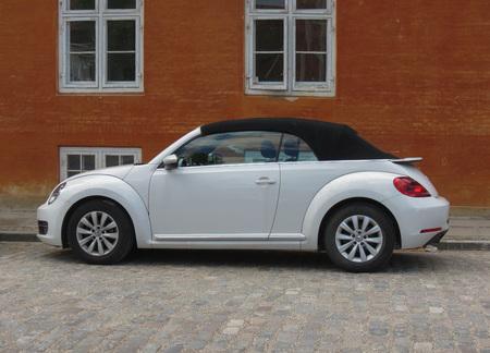 COPENHAGEN, DENMARK - CIRCA AUGUST 2017: white Volkswagen New Beetle cabrio car