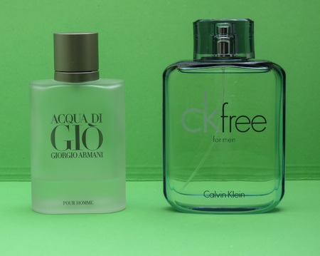 PARIS, FRANCE - CIRCA MAY 2017: Armani Acqua di Gio, Calvin Klein free for men eau de toilette, evergreen bestselling perfumes worldwide Editorial
