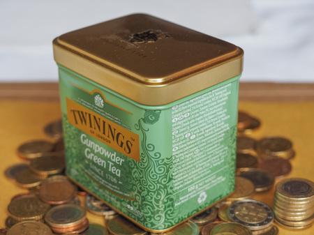 LONDON, UK - CIRCA AUGUST 2017: Twinings green gunpowder tea leaves for brewing loose tea in hot water Editorial