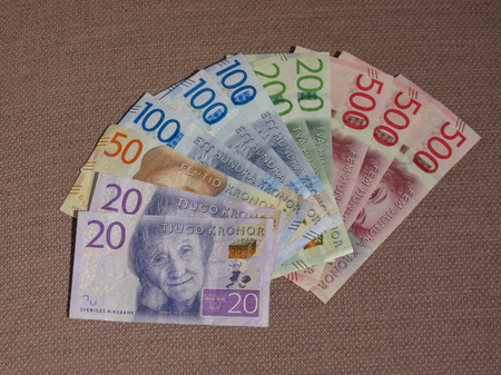 Swedish Krona banknotes money (SEK), currency of Sweden Stock Photo