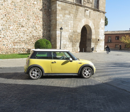 Toledo Spain Circa October 2017 Yellow Mini Cooper Car With