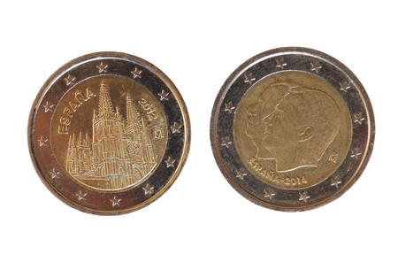 2 euro money (EUR), currency of European Union, commemorative coin showing Burgos cathedral, Spain and king Juan Carlos I and Felipe VI