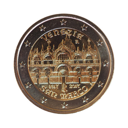 2 euro money (EUR), currency of European Union, commemorative coin showing St Mark cathedral in Venice (Venezia, basilica di San Marco)