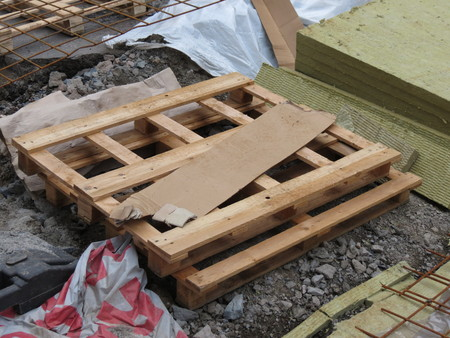 a pile of wooden pallets or skids Stock Photo