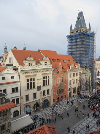 PRAGUE, CZECH REPUBLIC - CIRCA DECEMBER 2017: Old Town Square with Christmas market Editorial