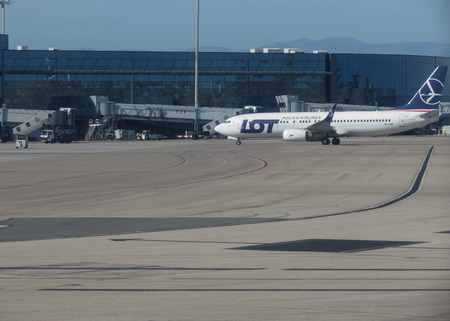 MADRID, SPAIN - CIRCA OCTOBER 2017: Lot Boeing 737 during taxi