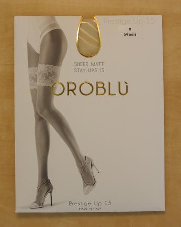 PRAGUE, CZECH REPUBLIC - CIRCA DECEMBER 2017: Italian Oroblu Prestige Up 15 hold-ups hosiery on display for sale