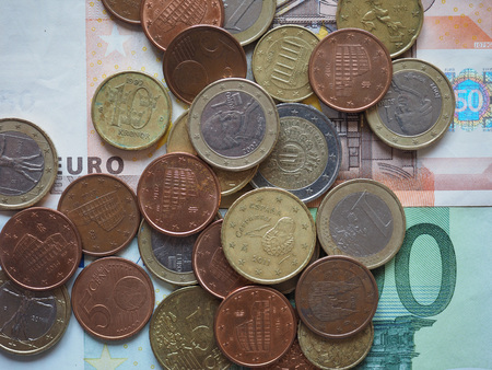 Euro coins of different denomination (EUR) released by different countries
