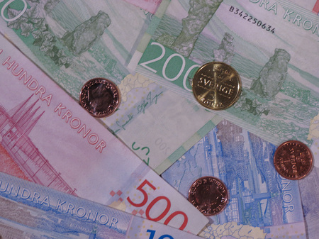 Swedish Krona banknotes and coins (SEK), currency of Sweden