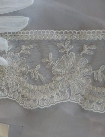 Italian white floral lace from Venice region Stockfoto