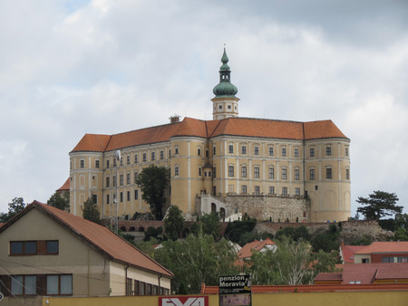MIKULOV, CZECH REPUBLIC - CIRCA JUNE 2018: Mikulov castle on the top of the hill. Modern replica rebuilt after it was destroyed in WWII