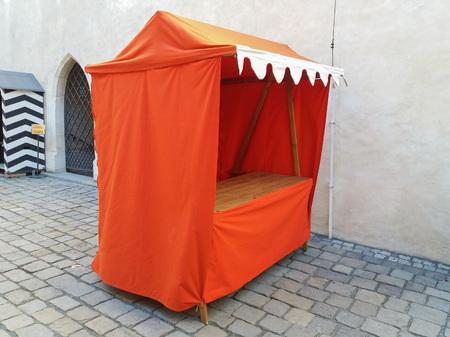 BRNO, CZECH REPUBLIC - CIRCA JULY 2018: a modern replica of medieval style market counter