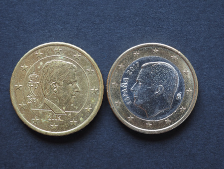 20 and 50 cents coin money (EUR), currency of European Union, bearing the portrait of Philippe (Filip) king of the Belgians and Felipe VI king of Spain Фото со стока