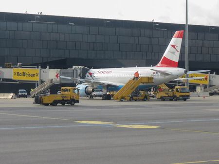 VIENNA SCHWECHAT, AUSTRIA - CIRCA NOVEMBER 2014: Austrian Airlines aircraft at the airport