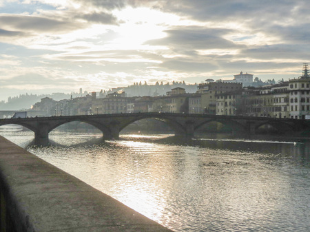Florence, Italian medieval town - view of the city centre over the river Arno