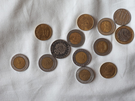 Italian Lira coins money (ITL), currency of Italy, released by Vatican State and San Marino