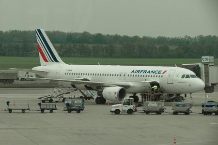 VIENNA, AUSTRIA - CIRCA OCTOBER 2015: Air France aircraft Airbus A320 parked at the airport