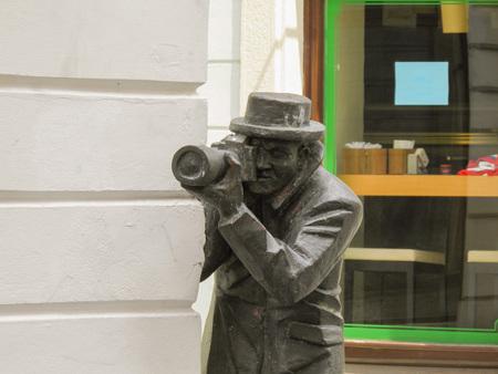 BRATISLAVA, SLOVAKIA - CIRCA JUNE 2011: The statue of Paparazzi